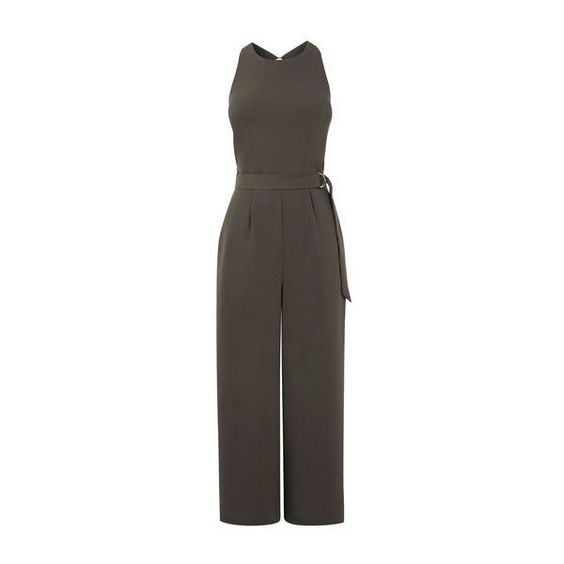 Warehouse O-Ring Belted Jumpsuit ($92) ❤ liked on Polyvore featuring jumpsuits, khaki, tailored jumpsuit, cropped jumpsuit, belted jumpsuit, jump suit and summer jumpsuits