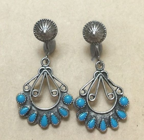Vintage Pawn Zuni Sterling Silver Turquoise Earrings