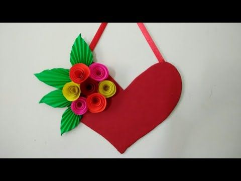 Diy Heart Wall Hangings With Paper Flower Valentine S Day Room Decor Ide Paper Decorations Diy And Crafts Sewing Wallpaper Decor