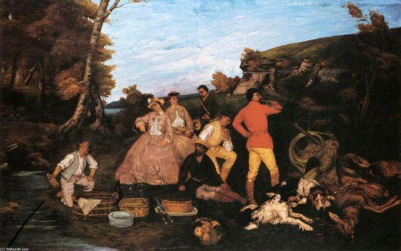 'The Hunt Frühstück', öl auf leinwand von Gustave Courbet (1819-1877, France)