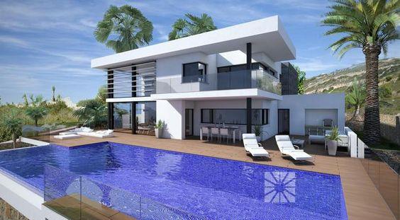 """Costa Blanca Villen: VILLA MORAIRA Golfimmobilien, In Solitär-Lage der nördlichen Costa Blanca. Hier möchten wir Ihnen die neue hochmoderne Design-Villa vorstellen, die zurzeit in der exklusiven Wohnanlage Jazmines im """"Sol Luxury Resort"""" gebaut wird. Es handelt sich um ein modernes, privates und sicheres Projekt, konzipiert für die Bedürfnisse der anspruchvollsten Kunden."""