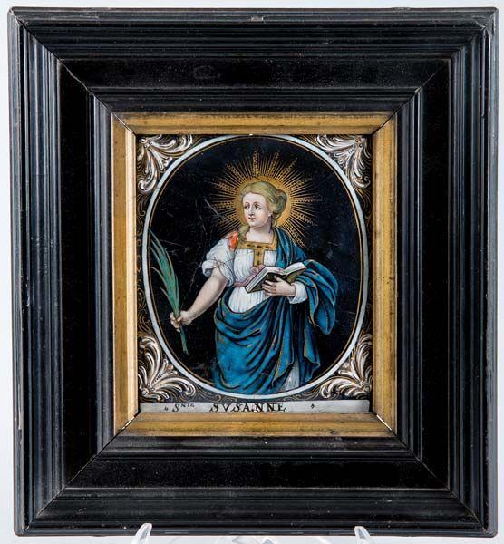 Placa de esmalte de Limoges Santa Susana - Subastas Segre