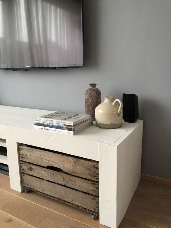 Steigerhout tv meubel  Interieur  Pinterest  TVs, Doors and Ideas