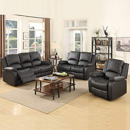 New Mecor 3 Piece Sofa Set Bonded Leather Motion Sofa Reclining