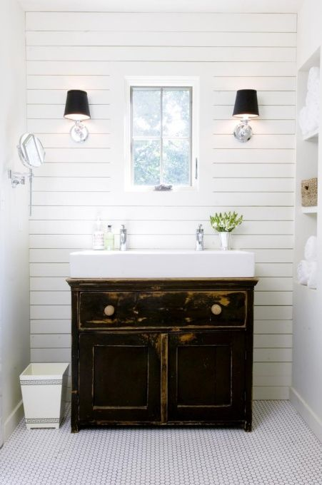 Modern Farmhouse Style, A modern farmhouse style with wood planked walls, trough sink, and simple hex tile floors, Our master bath.  We preferred the natural light over the typical mirror.  A swing-arm vanity mirror does the trick.  Simple classic hex tile & wood planking.  The trough sink worked perfectly on an antique cabinet we used as a dining buffet in our previous home, Bathrooms Design