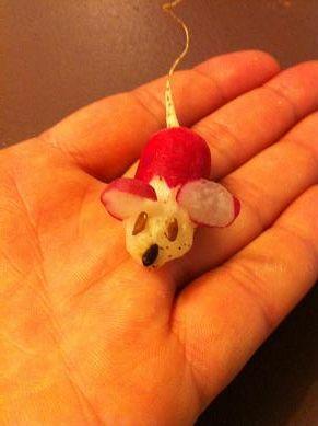 Faire une souris avec un radis   #food #art #caboucadin