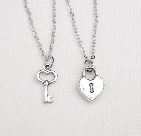 2 Best Friend Lock And Key Necklaces Set Of Two Key To My Heart Necklace Friendship Necklaces Gift For Couple Friend Jewelry Bff Necklaces Friend Necklaces