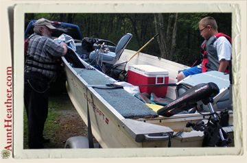 Dad & Kyle in the fishing boat, getting ready to fish! 8/20/10 #AuntHeather
