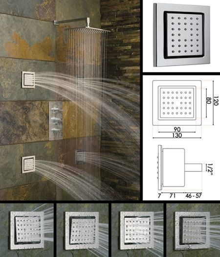 Image Detail for - adjustable shower body jets 498e these large square shower body jets ...