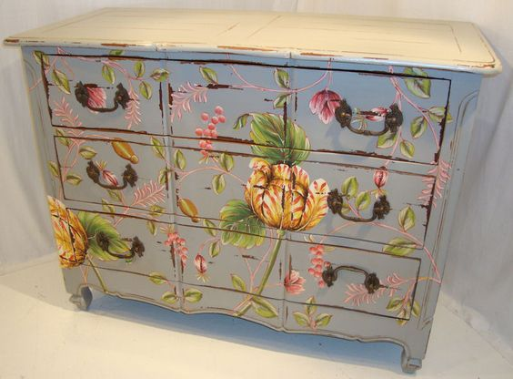 bold floral painted chest