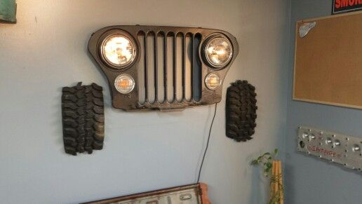 Jeep Cj 5 Cj 7 Grill Wall Hanger With Tires Real Working