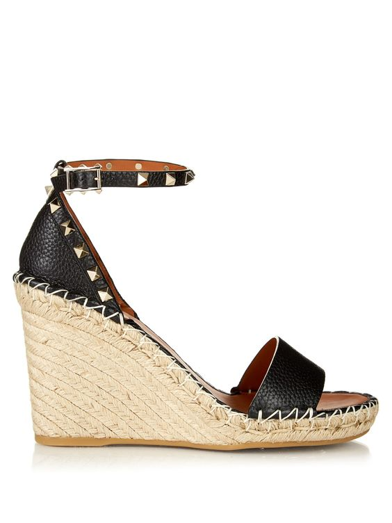 Rockstud leather wedge espadrilles | Valentino | MATCHESFASHION.COM
