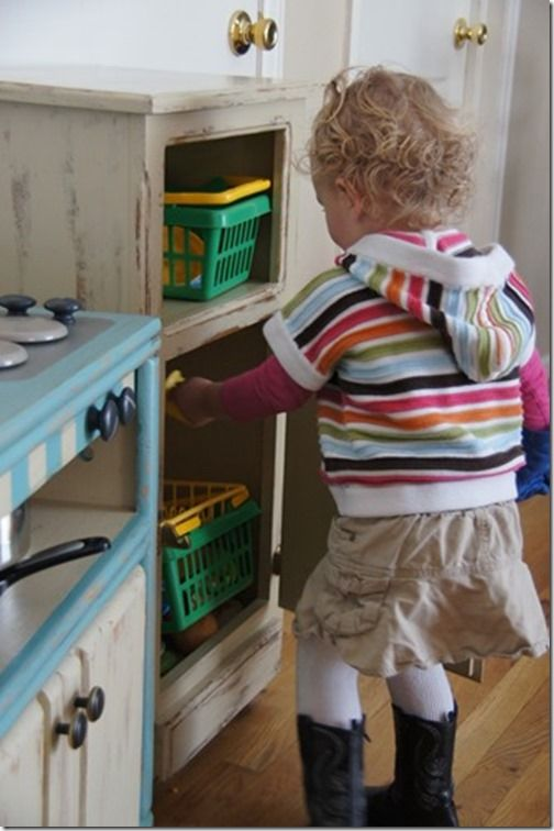 Inexpensive DIY kids kitchen!  Hours and hours of creative play for busy kids.