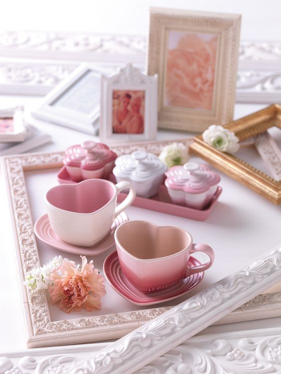 Heart-shaped tea cups