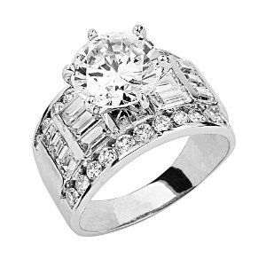 14K White Gold Solitaire CZ Cubic Zirconia High Polish Finish Ladies Wedding Engagement Ring Band with Baguette & Round Side Stone - Size 8.5