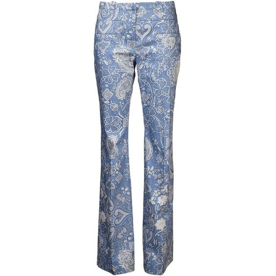 ALTUZARRA 'Serge' bell trouser ($1,120) ❤ liked on Polyvore featuring pants, patterned trousers, blue print pants, altuzarra, lace pants and blue pants