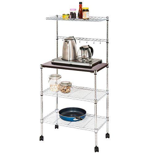 Kitchen Bakers Rack Adjustable 4 Tiers Carbon Steel