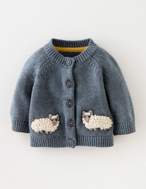 Baby Boden Sheep Cardigan in Sail Blue Marl/Sheep (BLU) - Give your little explorer the ultimate farmyard disguise with this supersoft cotton-wool blend cardigan, featuring two extra-special crochet sheep on the front. It's machine washable too — handy for those messy days at the farm (and everywhere else for that matter). Just remember: the sheep is the one that goes 'baa