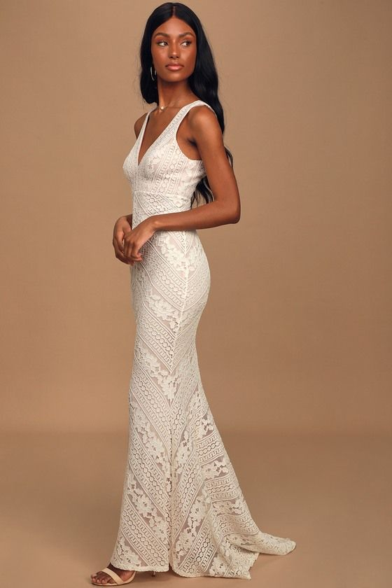Alianna White Lace Mermaid Maxi Dress In 2020 White Lace Maxi Dress Lace White Dress White Maxi Dress Wedding