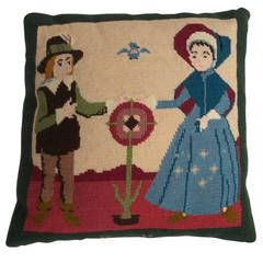 Needlepoint, Pillow or Cushion, Shaker or Quaker Style, Early 20th Century.