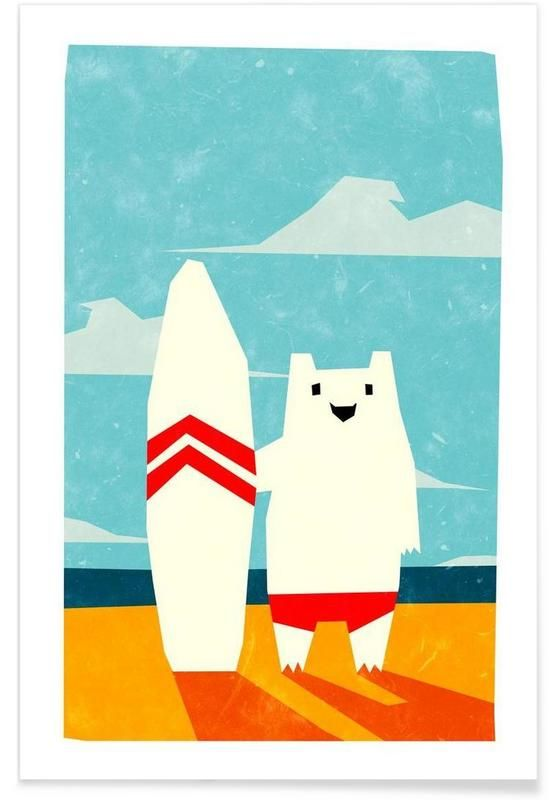 Surf als Premium Poster von Yetiland | JUNIQE