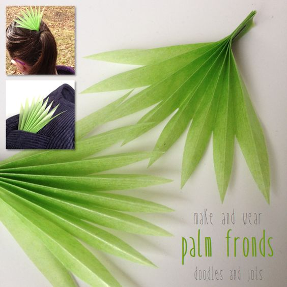 Make & Wear Palm Fronds  Palm Fronds are really beautiful I think. The fact that they look just like accordion folded paper makes me want to make some! Also this is a great time of year to accessorize with a little green with Saint Patrick's Day, the spring equinox, and Easter. Of course this would be perfect for Palm Sunday (April 13th) too! You can use any kind of green paper you have. I used kite paper which is about the size of origami paper but translucent like tissue paper with a waxy,...