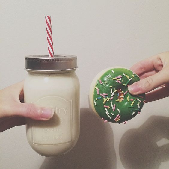 banana smoothie and a donut.  #latenightsnack