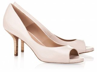 """Fedra"" peep-toe mid-heel pump in pink nude, by Pura Lopez."