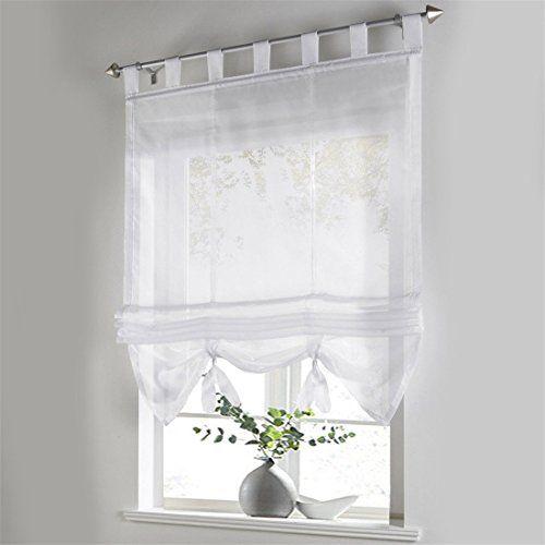 Vorhang Raffgardine Fenster Raffrollo Schlaufen Sticken Gardinen - küchengardinen mit schlaufen