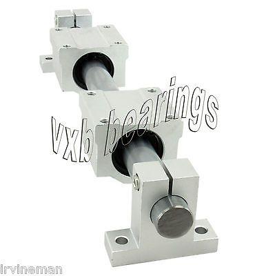 20mm-Linear-Shaft-55-Long-2-Slide-Units-2-Shaft-Supports-CNC-Motion-Rod-Set-Kit