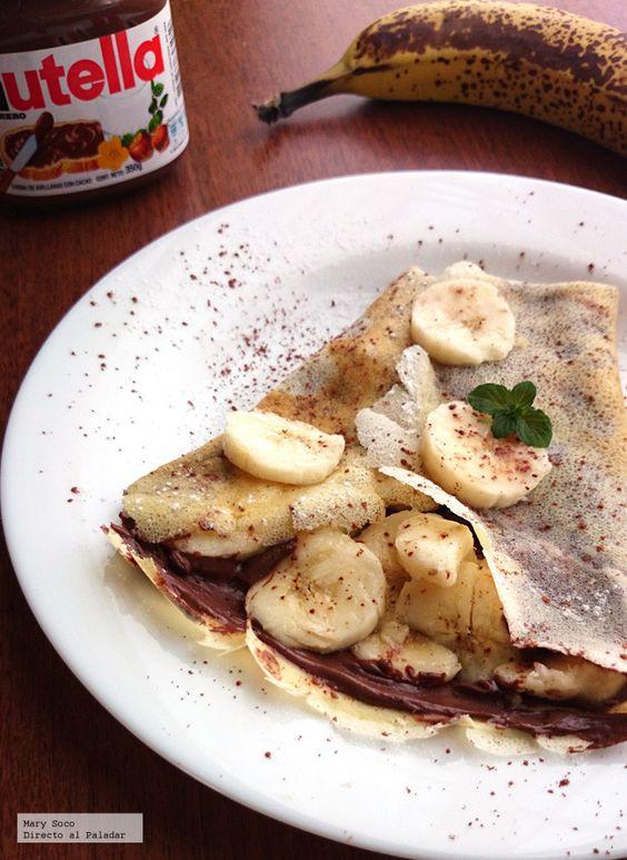 receta de crepes de plátano y nutella