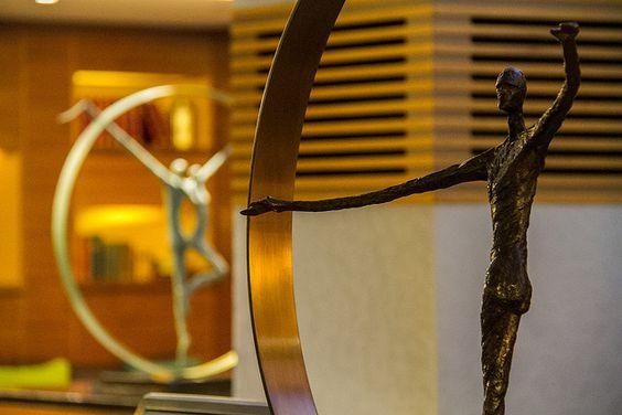 Sculptures in the Sofitel London Heathrow's Perrier-Jouet bar