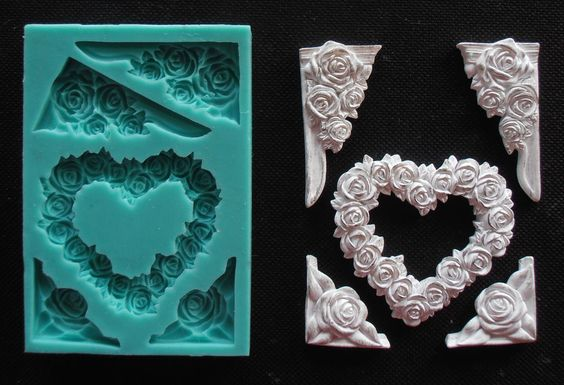 Silicone Mould HEART AND FRAME WITH ROSES Sugarcraft Fondant / fimo mold