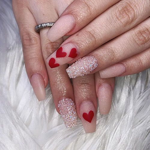 The Best Valentine S Day Nails Right Now Stylish Belles Coffin Nails Designs Valentine S Day Nails Heart Nail Designs