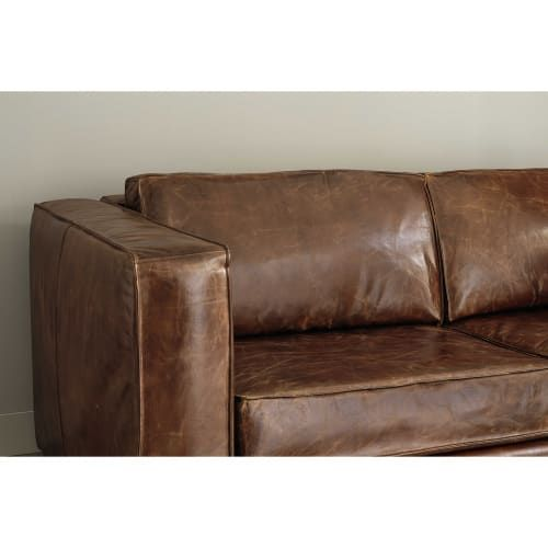 Canape Lit 3 Places En Cuir Marron In 2020 Mattress Love Seat Sofa