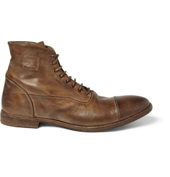 Alexander McQueenWashed-Leather Boots|MR PORTER: Mens Shoes Boots, Shoes For Men, Men S Shoes, Leather Boots, Grain Leather, Men Shoes, Boots Sexy, Alexander Mcqueen Boots, Boots 745