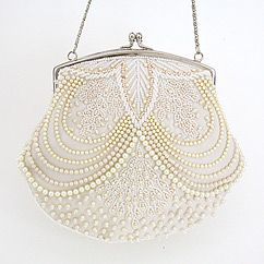 Beaded pearl bridal handbag. Ivory pearl beaded purse designed by Moyna.  Find your bridal style at Perfect Details.