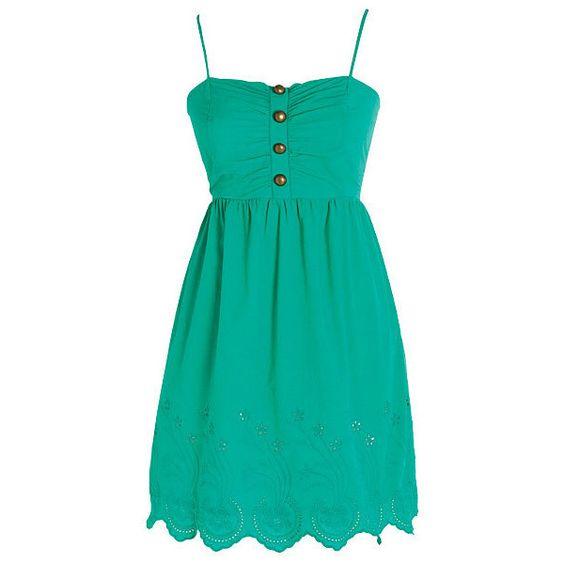 Eyelet Border Dress ($20) ❤ liked on Polyvore featuring dresses, vestidos, vestiti, short dresses, smocked strapless dress, short green dress, strapless mini dress, short strapless dresses and embroidery dress