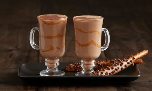 This winter warmer redefines the traditional hot chocolate recipe. Hazelnut, coffee and caramel join chocolate and the essential ingredient—milk—to create a luxurious sipper.