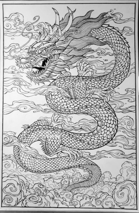 Line Drawing Dragon Tattoo : Chinese dragon draw the line pinterest