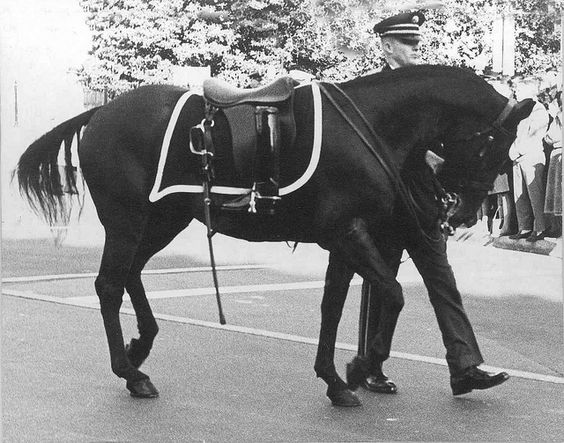 At President John Fitzgerald Kennedy's funeral.  The boots are reversed in the stirrups to represent a fallen leader looking back on his troops for the last time.
