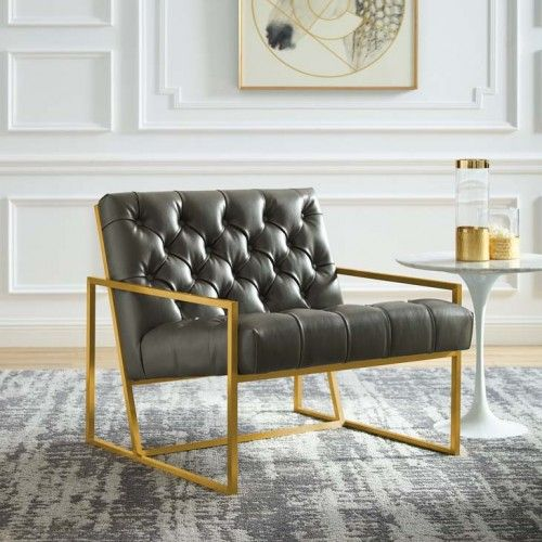 Grey Tufted Faux Leather Square Box Gold Frame Arm Chair Leather Accent Chair Leather Dining Room Chairs Accent Chairs