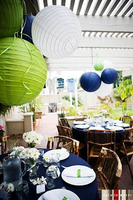 Dark Blue and Lime Green Baby shower!