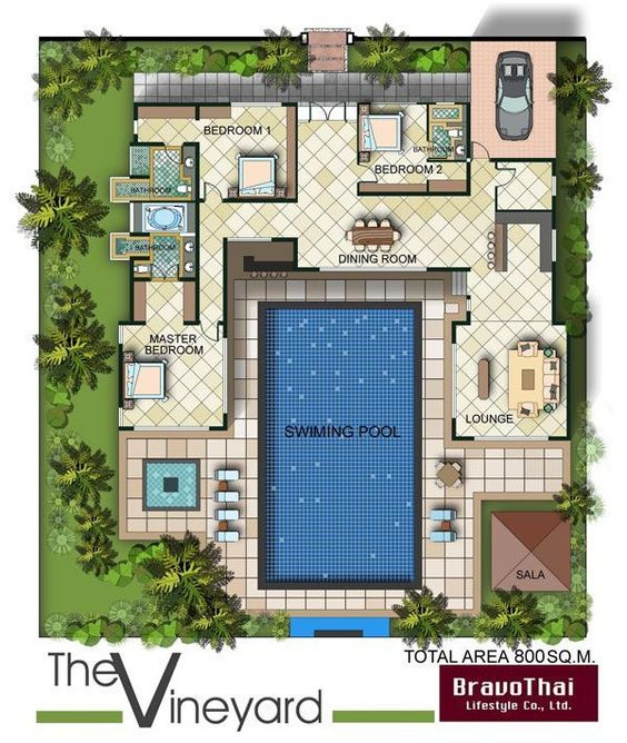 Bungalow 3d Floor Plan: U Shaped Bungalow Floor Plan With Pool