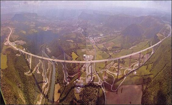 Located in Southern France, the Millau Viaduct is the tallest bridge in the world. Constructed in three short years, the bridge is an engineering and architectural marvel. At its highest point, the bridge soars 343 meters (1,125 ft) above ground, that's 19 meters (62 ft) taller than the Eiffer Tower!