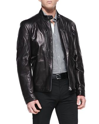 Reversible Leather Biker Jacket Black | Shops, Hugo boss and ...