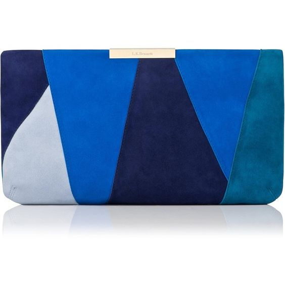 L.K. Bennett Flora Blue Suede Patchwork Clutch (435 AUD) ❤ liked on Polyvore featuring bags, handbags, clutches, envelope clutch, formal purse, colorblock purse, envelope clutch bag and suede leather handbags