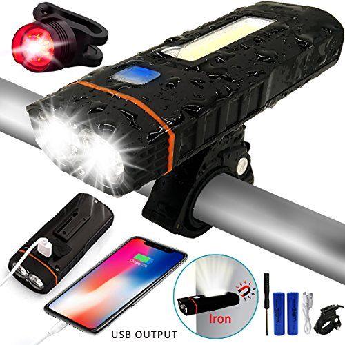 Fahrrad LED Beleuchtung Set Fahrradlicht Scheinwerfer mit Rücklicht Lithium Akku