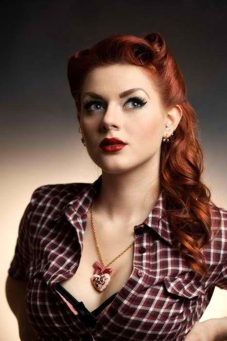 @PinFantasy - stunning retro#retro #hairdo #hair #style #vintage #curls #redlips #redhead #pinup
