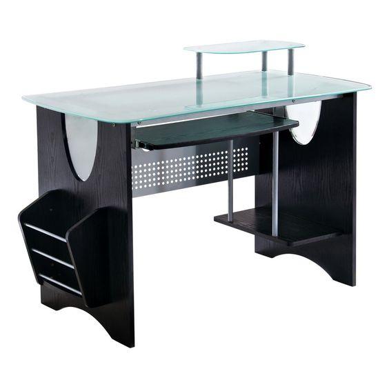 Techni Mobili Multifunction Glass Top Computer Desk - Espresso - Desks at Hayneedle